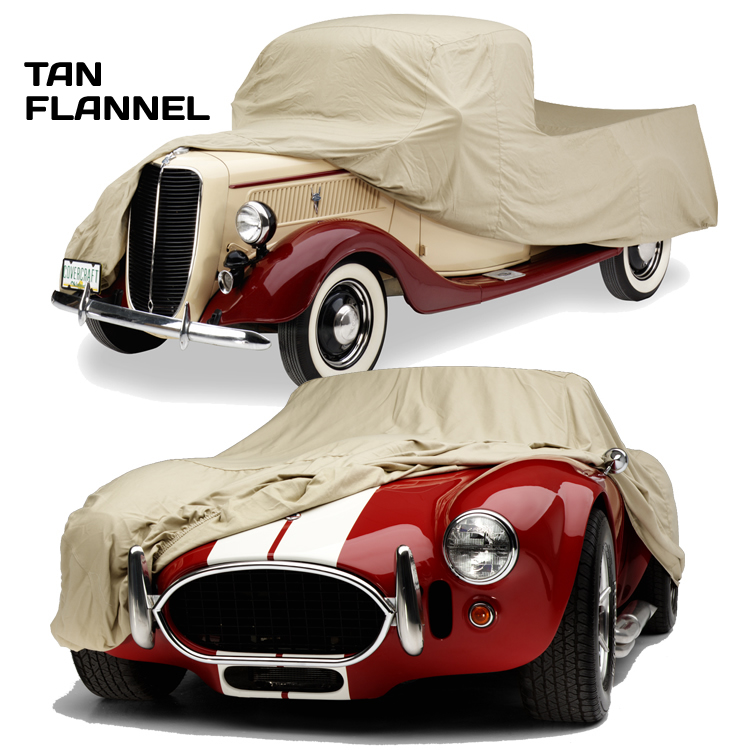 Tan Flannel Car Cover on Car